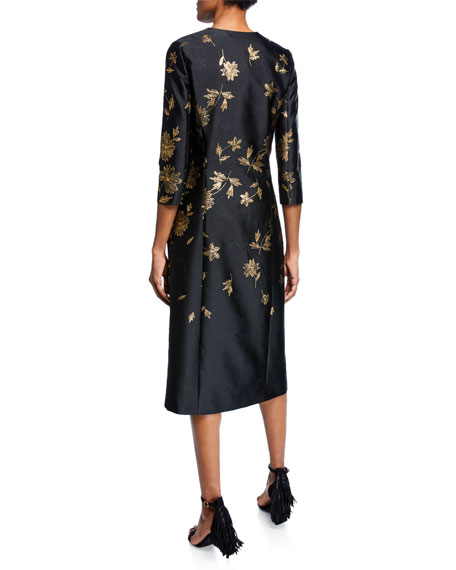 3/4-Sleeve Floral Embroidered Coat