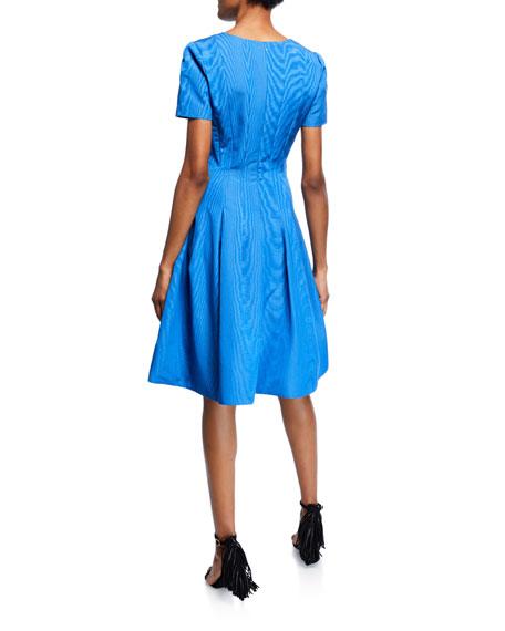 Short-Sleeve Wave Moire Faille Cocktail Dress