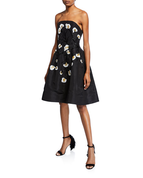 Floral Embroidered Strapless Dress