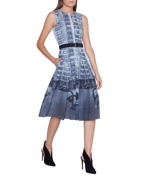 Akris Magnet-Print Sleeveless Dress