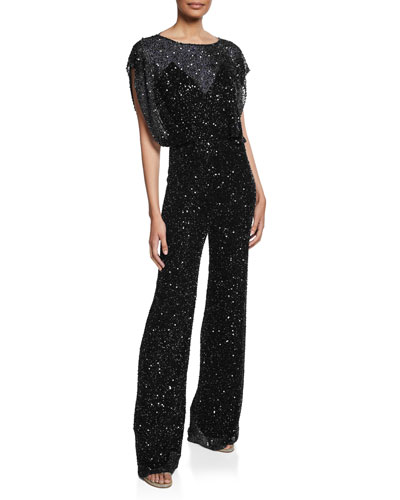 Sequin Open-Back Jumpsuit