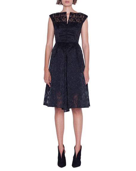 Cap-Sleeve Embroidered Organza Apron Dress