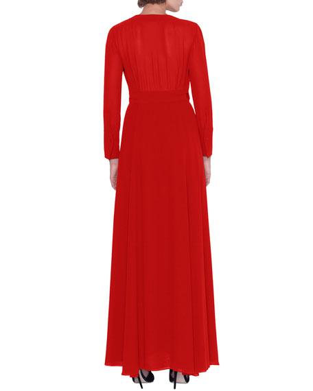 Surplice-Neck Long-Sleeve Georgette Wrap Dress