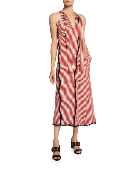 Striped Fringed-Scallop Midi Dress