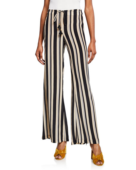 Figue Simone Striped Silk Wide-Leg Pants