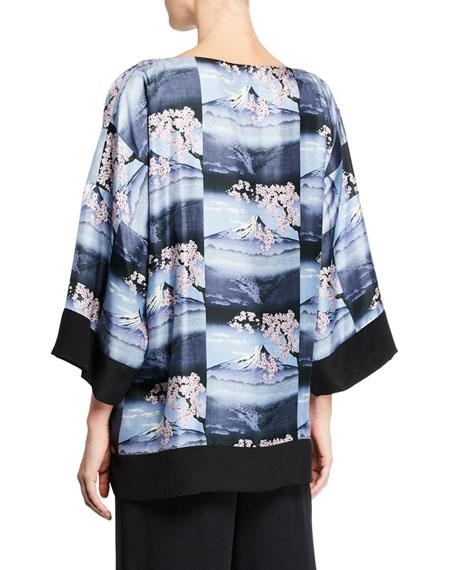 Mount-Fuji Print Silk Tunic