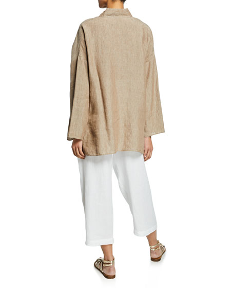 Melange Linen Sloped-Shoulder Smock Shirt