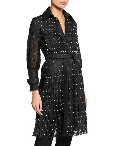 Pearly-Trim Lace Trench Coat