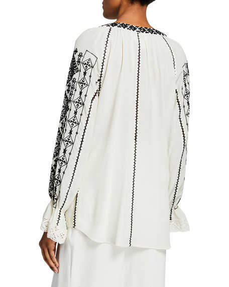 Lana Embroidered Peasant Top