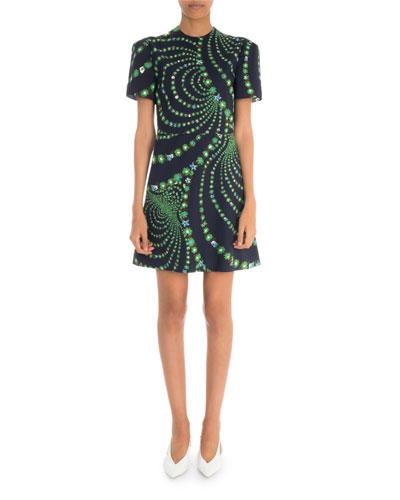 Short-Sleeve Distorted Floral Print Mini Dress
