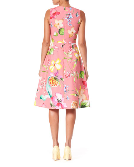 Sleeveless Floral Stretch Cotton Knee Length Dress