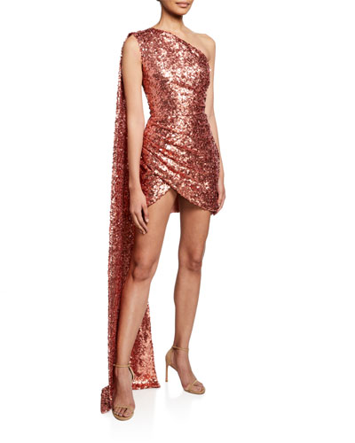 One-Shoulder Sequined Cocktail Dress