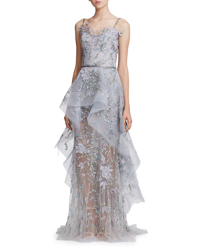 Floral-Embroidered Tiered Tulle & Organza Peplum Gown
