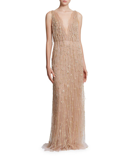 Tulle-Embroidered Fringe V-Neck Gown