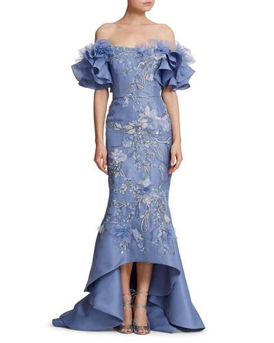 Off-the-Shoulder Floral-Embellished Organza Mermaid Gown