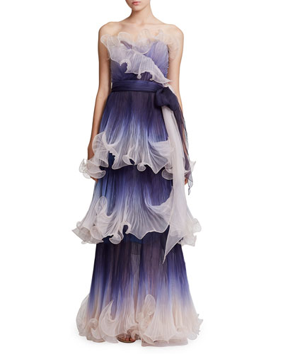 Strapless Pleated Ombre Gown