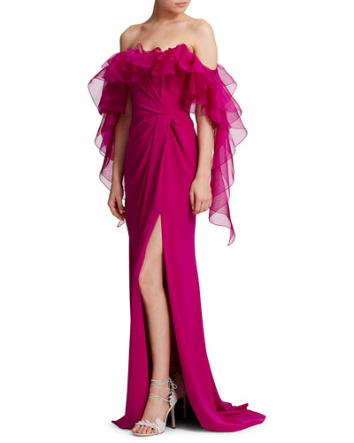 Satin-Back Crepe Off-the-Shoulder Gown