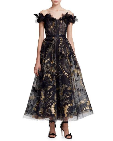 Marchesa Off-The-Shoulder Foiled Floral Tea-Length Gown