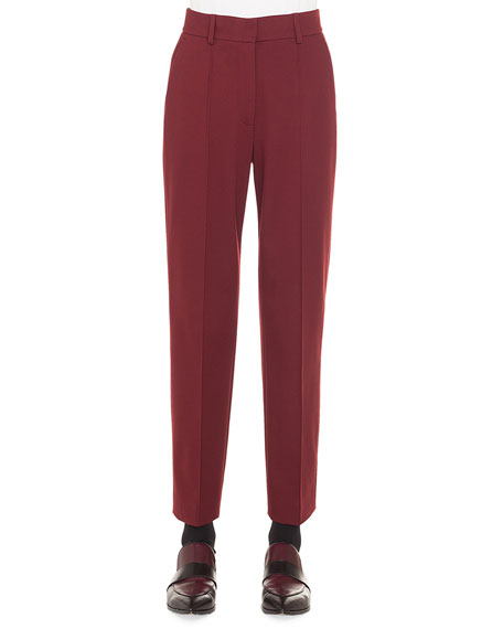 Ferry High-Waist Straight-Leg Cropped Jersey Pants