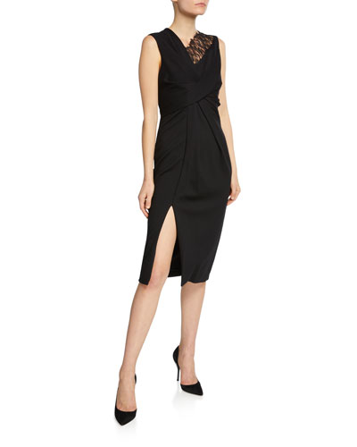 Lace-Trim Jersey Sheath Dress