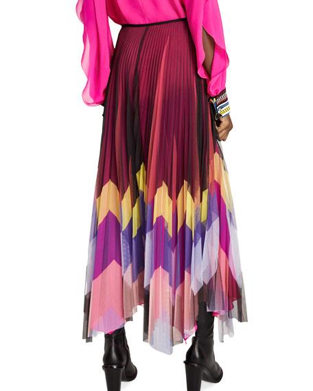 Chevron Silk Pleated Skirt