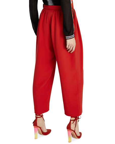 Cropped Silk Crepe Trousers
