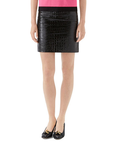 Crocodile-Embossed Leather Mini Skirt