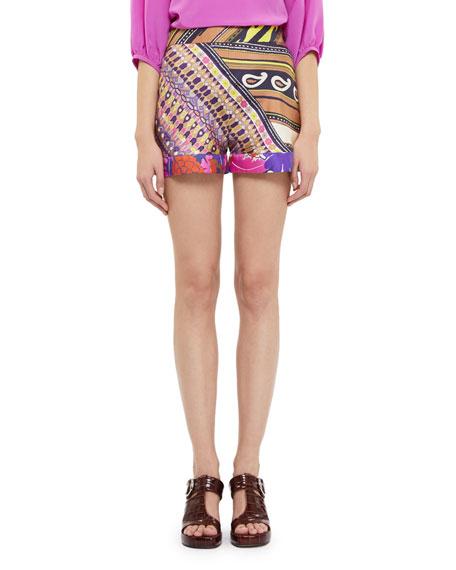 Multi-Print Silk Dress Shorts