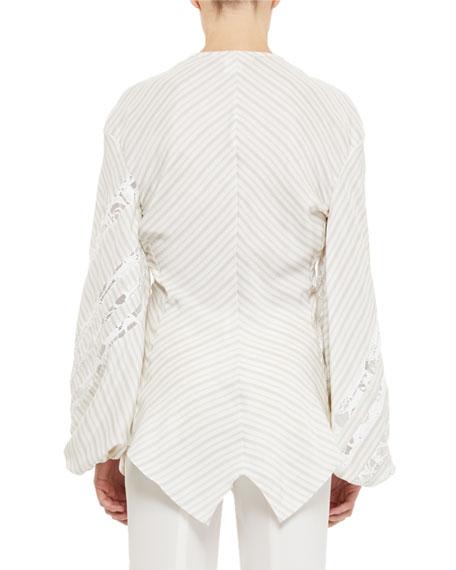 Sheer-Striped Poplin Long-Sleeve Peasant Top