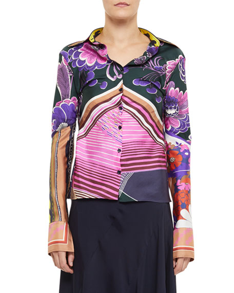 Image 1 of 1: Abstract Multi Print Button-Front Shirt