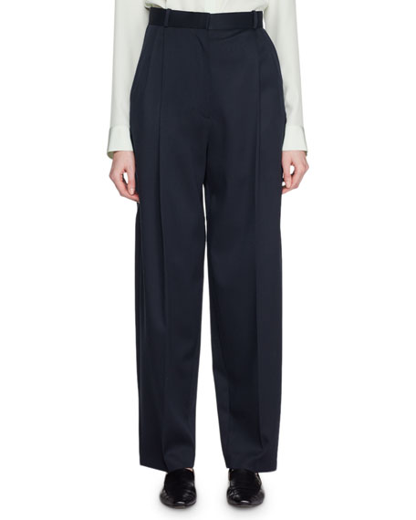 High-Waist Straight-Leg Wool Pants