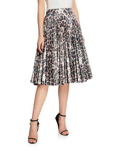 Animal-Print Pleated Taffeta Skirt
