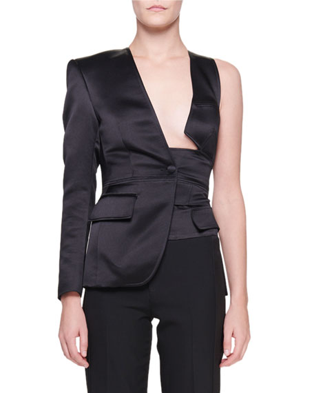 Double Silk Satin Asymmetric One-Sleeve Jacket