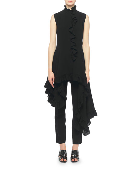 Alexander McQueen Silk High-Neck Ruffled Asymmetric Top