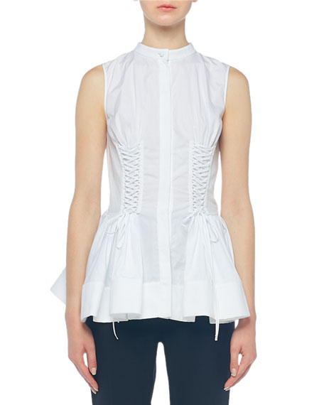 Alexander McQueen Poplin Lacing Detail Sleeveless Top