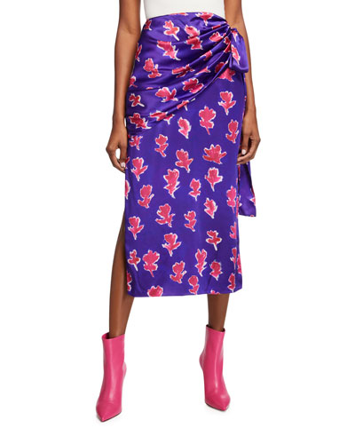 Draped Floral-Print Silk Skirt