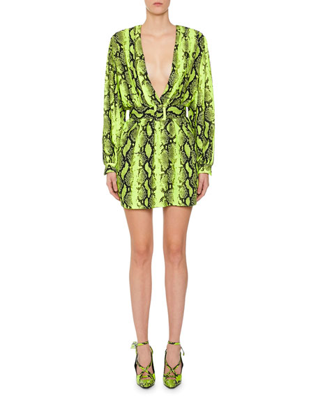 Off-White 80s Deep V Python-Print Mini Dress