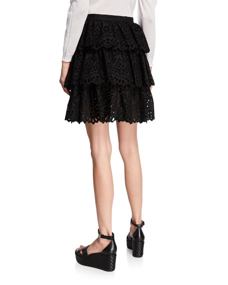 Tiered Eyelet Mini Skirt