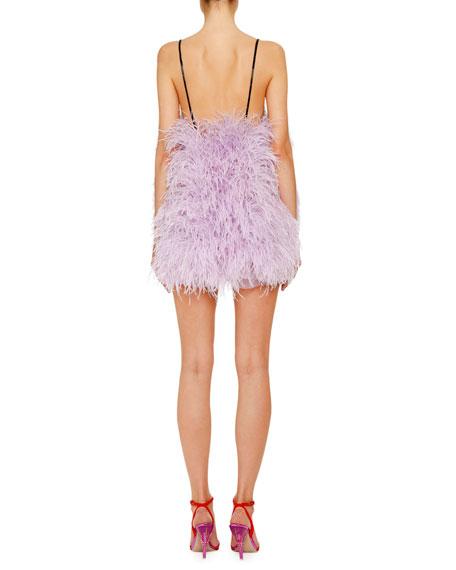 Shimmer Feather Mini Slip Dress