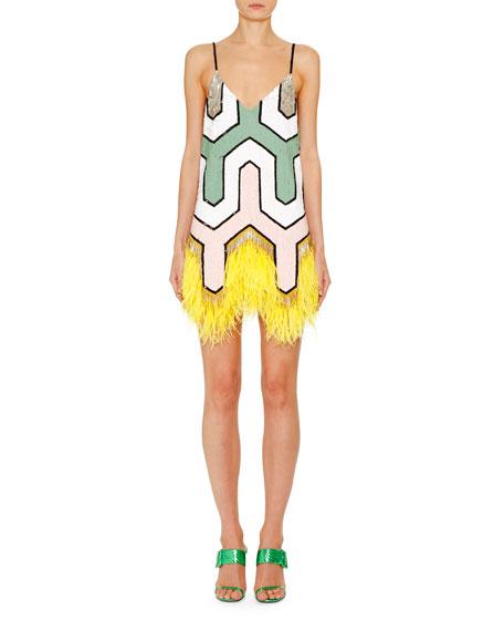 Gemetric Sequined Feather-Hem Slip Dress