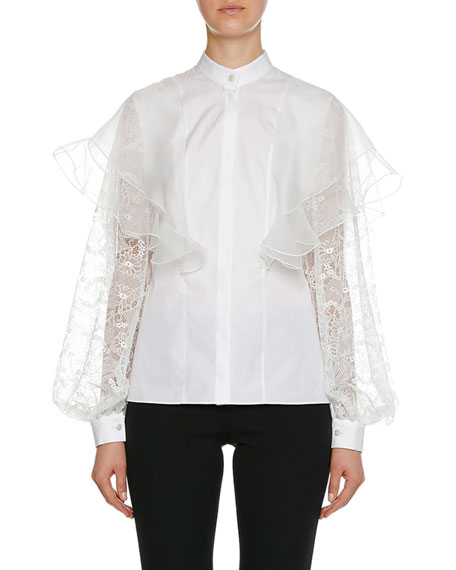 Image 1 of 1: Lace Long-Sleeve Cotton Blouse