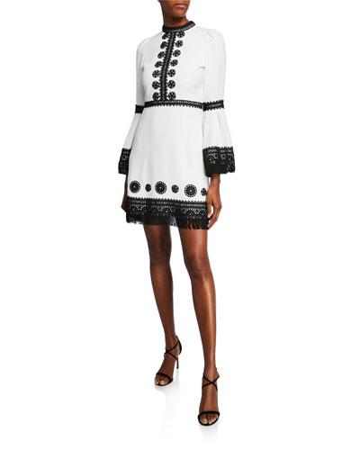 Contrast Lace-Trim Mini Dress