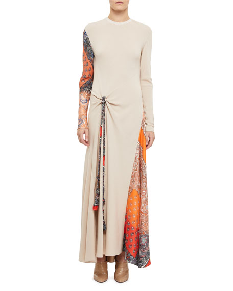 Long-Sleeve Gathered Silk Dress