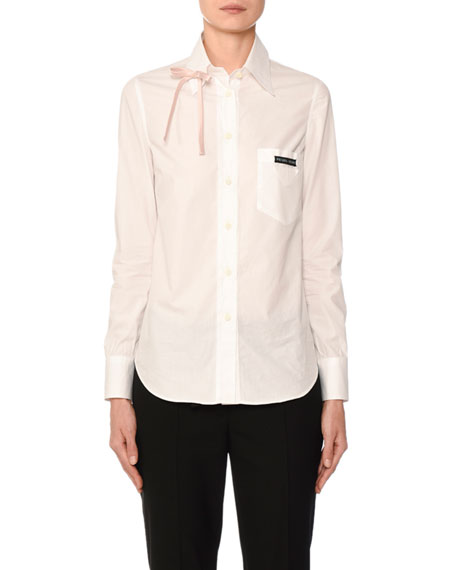 Long-Sleeve Poplin Bowed Shirt