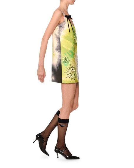 Sleeveless Tie-Dye Beaded Mini Dress