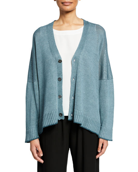 Image 1 of 1: Oversized Linen-Knit Button-Front Cardigan