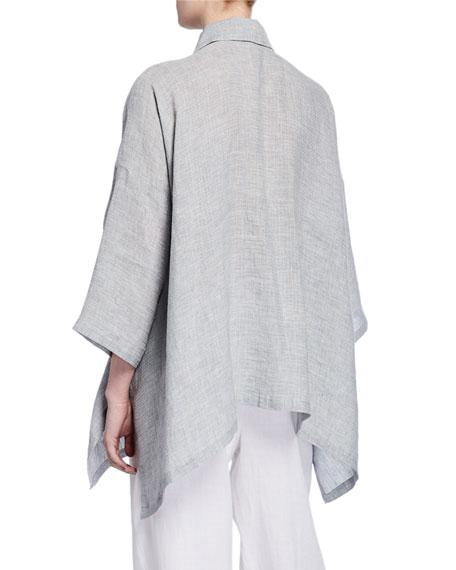 3/4-Sleeve Collared Linen Shirt