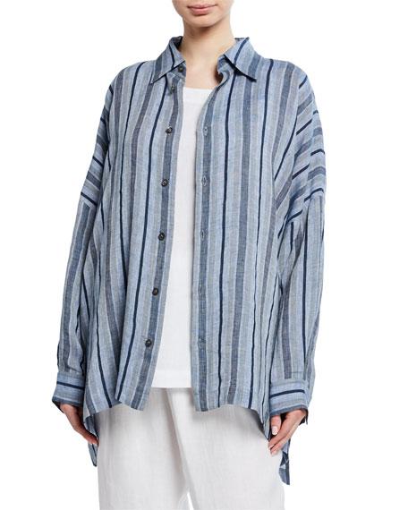 Striped Linen Button-Front Shirt
