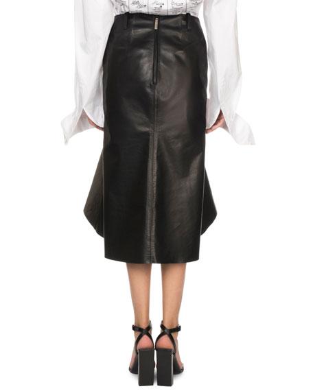 Flounce-Hem Leather Midi Skirt