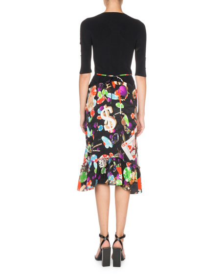 3/4-Sleeve Casino-Print Dress